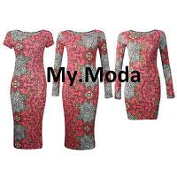 Women's Baroque Printed Cap Sleeve, Midi & Mini Bodycon Ladies Dress Size SM ML
