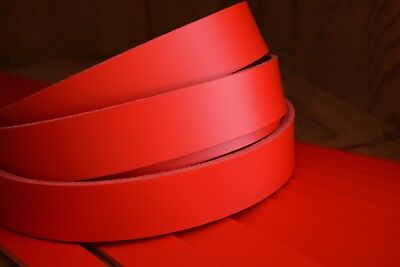 "50"" LONG 3.5mm THICK RED BEND LEATHER STRAP VEG TAN VARIOUS WIDTHS STRIP"