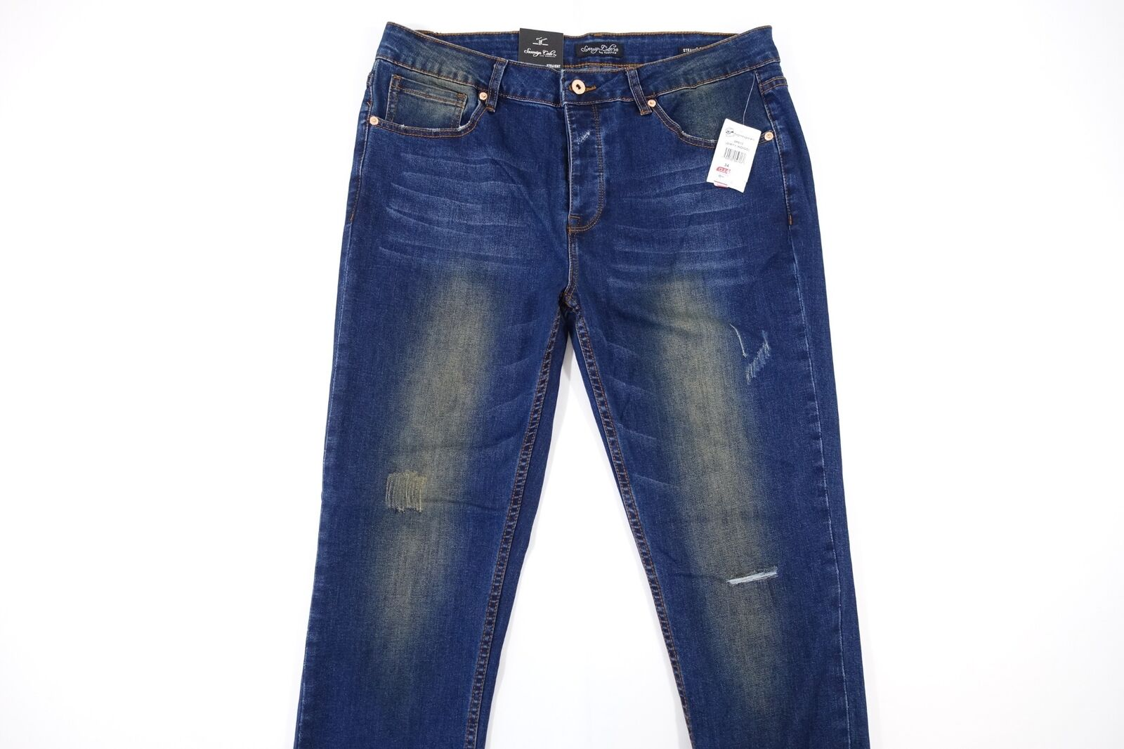 SOVEREIGN CODE FADED DISTRESSED blueE 34 STRAIGHT FIT JEANS MENS NWT NEW