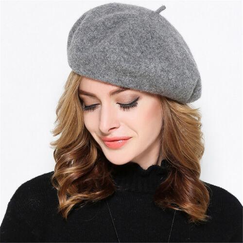 Frau Einfarbig Französisch Maler Klobig Wollfilz Einfarbig Baskenmütze Hut Y63