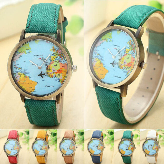 Fashion Women Watch Global Travel By Plane Map Dress Watches Denim Fabric Band