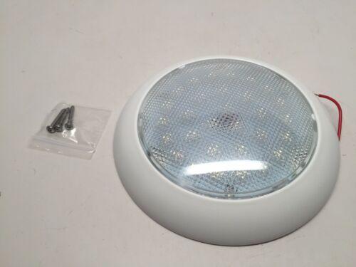 """#MARINE BOAT RV  5-1//2/"""" DOME LIGHT WHITE PLASTIC 30 LED 12V COOL WHITE No SWITCH"""