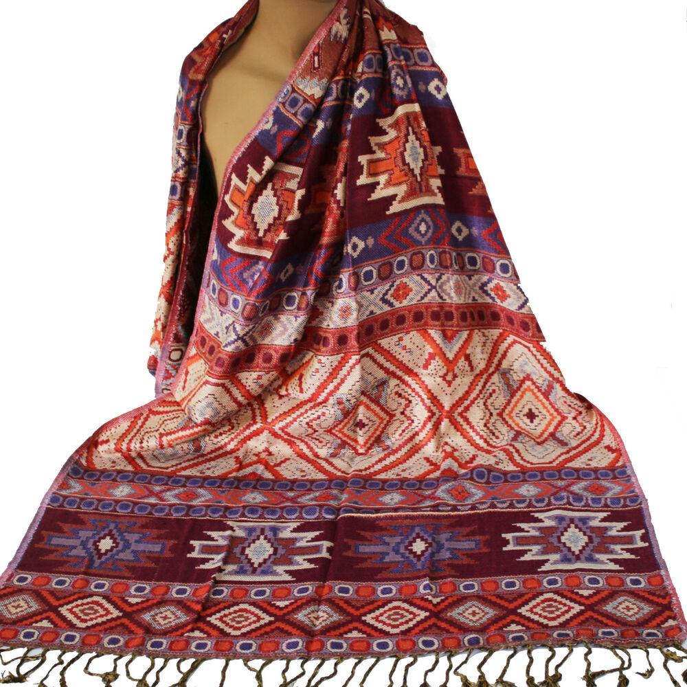 Écharpe Incas Design Doux Viscose Maya-femmes Écharpe Bordeaux Violet Coloré Ethno Ts3-l Bordeaux Lila Bunt Ethno Ts3 Facile à Lubrifier
