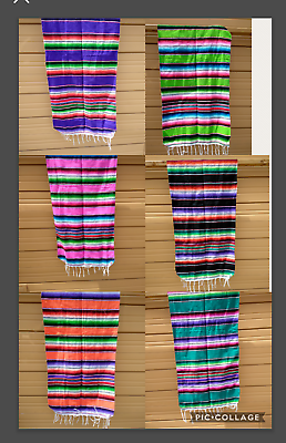 "Mexican Serape Table Runner 81/""X14/"",Party Decor XLARGE TURQUOISE MIX Saltillo"