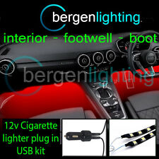 2X 500MM RED USB 12V LIGHTER INTERIOR KIT 12V SMD5050 DRL MOOD LIGHTING STRIPS