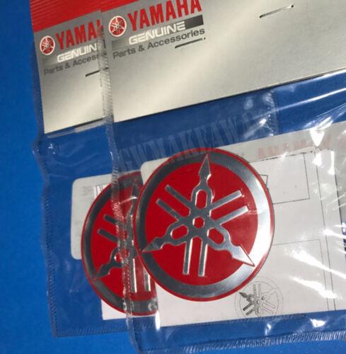 2x YAMAHA 55mm TUNING FORK LOGO RED SILVER DECAL EMBLEM STICKER METAL Genuine