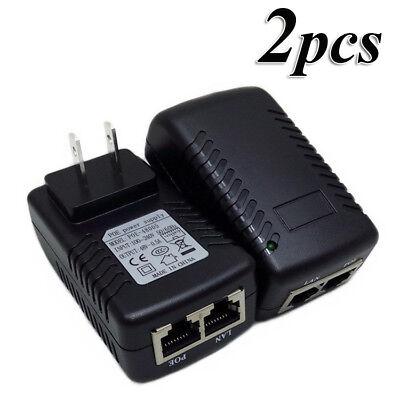 2x 48V 0.5A PoE Injector Power Over Ethernet Adapter for 802.3 af IP Camera Wlan