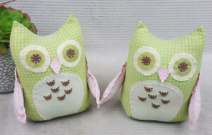 Pottery-Barn-Quilted-Owl-Weighted-Pink-Green-Polka-Dot-Lot-Of-2