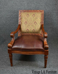 Vintage Mid Century Carved Brown Leather Accent Chair By Fairfield Ebay