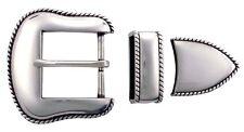 "Western Cowboy Antique Silver Plain Rope 1 1/2"" Buckle Set"