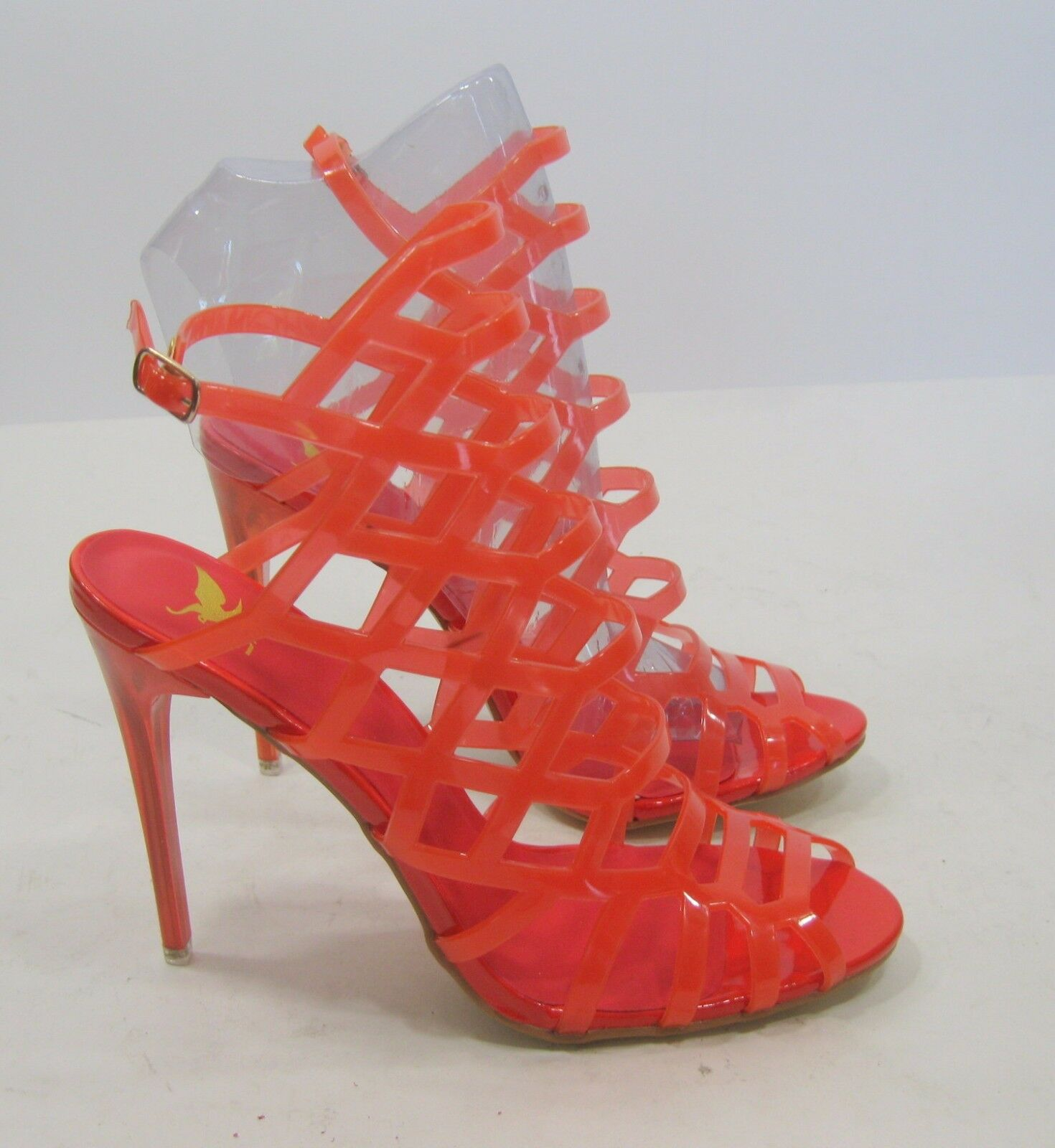 New ladies orange 4.5 Stiletto High Heel Peep Toe Womens Stunning Sandal Size 6