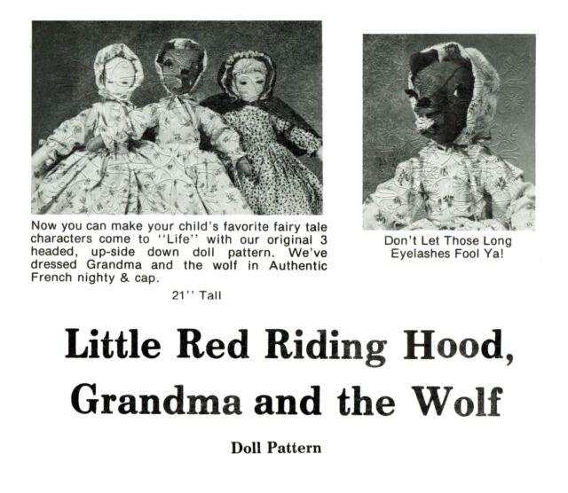 #152 Red Riding Hood Pattern Grandma-Wolf Topsy Turvy Rag Doll