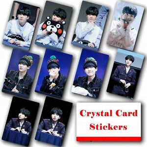 10pcs-set-Kpop-Bangtan-Boys-SUGA-HD-Lustre-Photo-Card-Crystal-Card-Sticker
