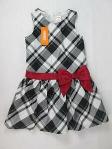GYMBOREE-KIDS-GIRLS-BLACK-WHITE-PLAID-RED-BOW-PARTY-HOLIDAY-DRESS-5-6-NWT