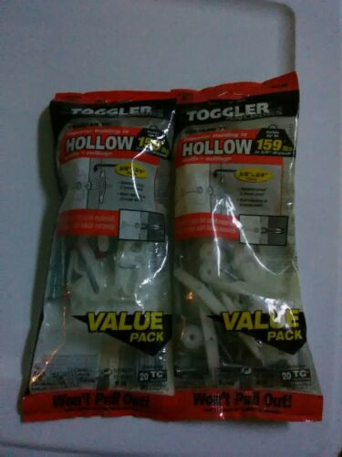 """Lot of 2 Bag of 20 Toggler Wall Anchors TC Hollow 159 Lbs 5//16/""""  drill size"""