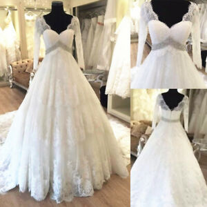 Real Image Lace Wedding Dresses With Beaded Belt Long Sleeves V Neck Bridal Gown