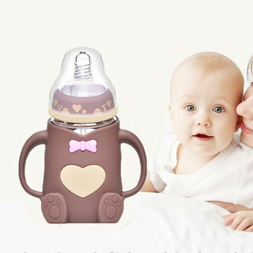 Infant Baby Anti-Colic Glass Feeding Milk Bottle with Protective Silicone Sleeve