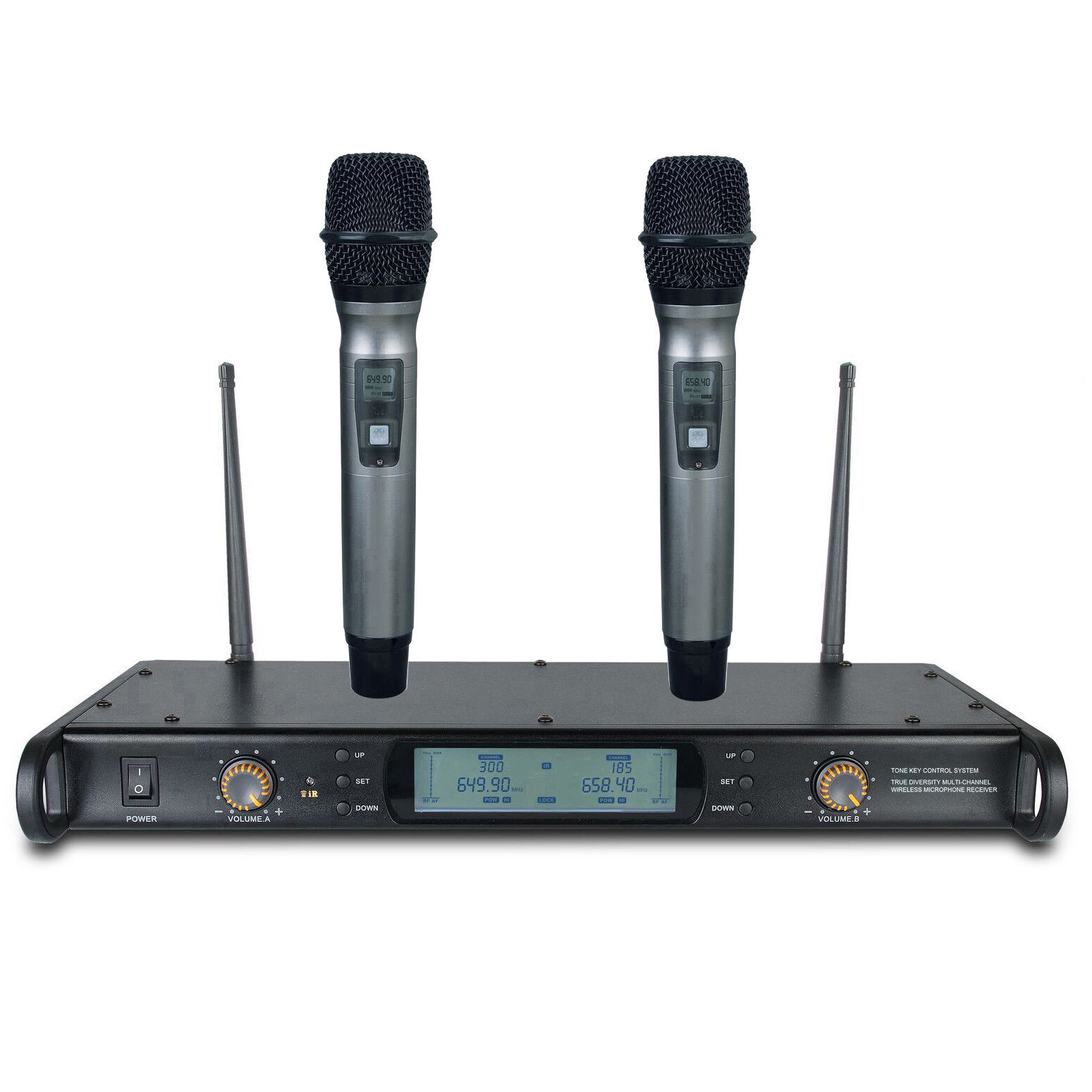 Dual Microphone Wireless UHF Professional Presentation Cordless Microphone Rack