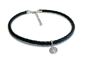Circle-Black-Leather-Choker-Necklace-Sterling-Silver-Plated-EXTRA-20-OFF