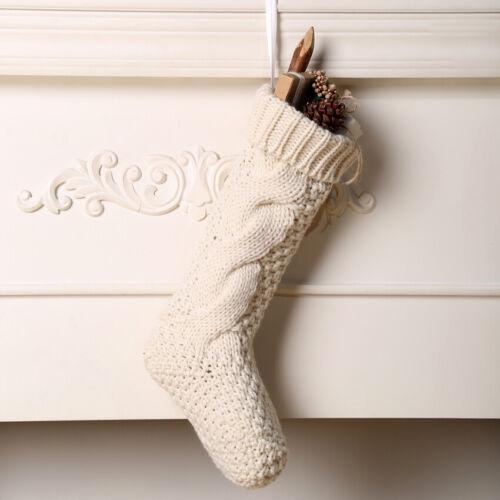 US Stock Knitting Embroidered Xmas Stocking Luxury Stocking Sack Santa Christmas