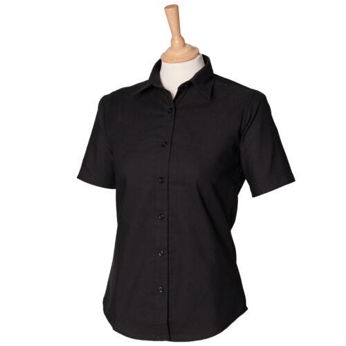 Henbury Women/'s Short Sleeve Classic Oxford Shirt H516-Ladies Formal Office Wear