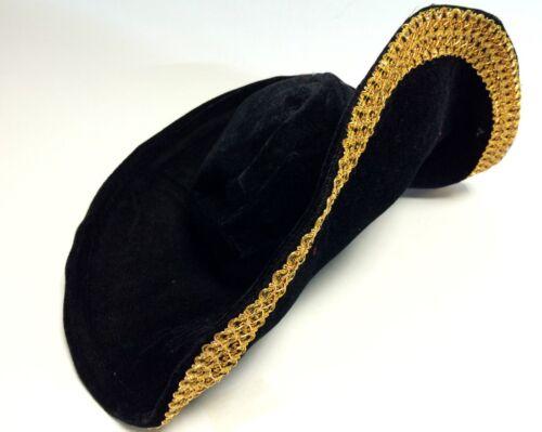 Jack piratas sombrero de terciopelo oro bodüre alambre arista carnaval carnaval