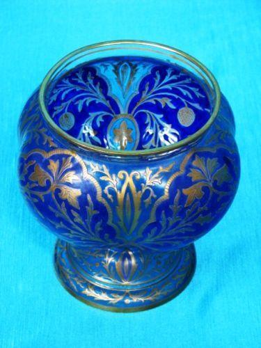 Julius Mühlhaus & Co. Glas Vase auf Rundfuß Haida um 1880