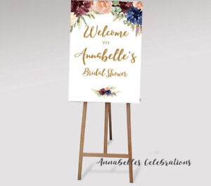 photo regarding Printable Welcome Sign named Information regarding Printable Welcome Indicator Hens Youngster shower Engagement Wedding day Bridal Burgundy Blue