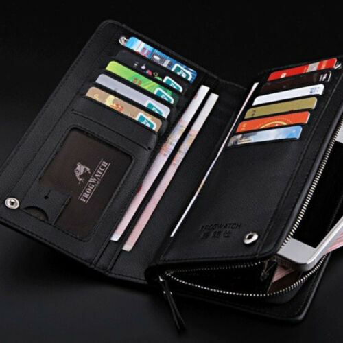 Men Soft Leather Phone Holder Zipper Pocket Clutch Long Wallet Purse Fashion
