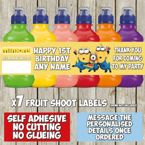 7 x Minions Me Personalised Self Adhesive Fruit Shoot Label Birthday Party F020