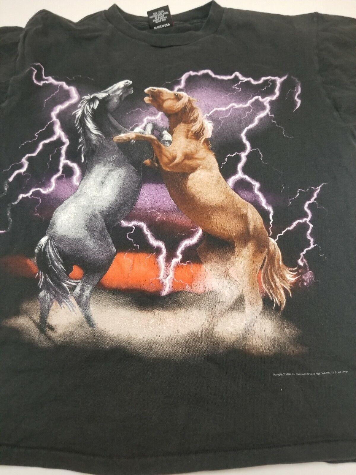 Rare Vtg 80s 3D EMBLEM Stallion Western Cowboy Horse Shirt XL Single Stitch