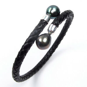 7-5-034-9-10mm-Tahitian-Black-Pearl-5mm-Leather-Flex-Bangle-Bracelet