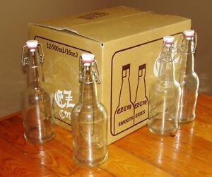 Beer Bottles 24 Ez Cap Clear Glass Swing Top Soda 16oz Flip Top
