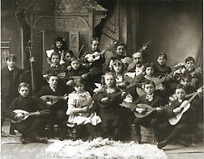 Vintage 1880 Children String Band Mandolin Guitar Bass Guitar Kids Instruments