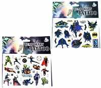 1 BATMAN & 1 VINTAGE AVENGERS TATTOO SHEET Kids Birthday Party Gift Bag Filler