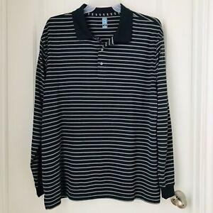 PGA-Tour-Polo-Shirt-Size-XXL-Gray-Striped-Polyester-Long-Sleeve-Men-039-s-Top