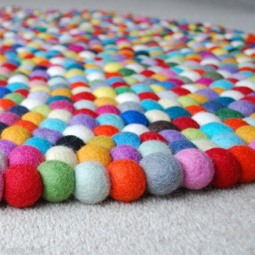 Bright Mixed Coloreees Pom Pom Felt Ball Area Rug Room Carpet Pure Wool Carpet