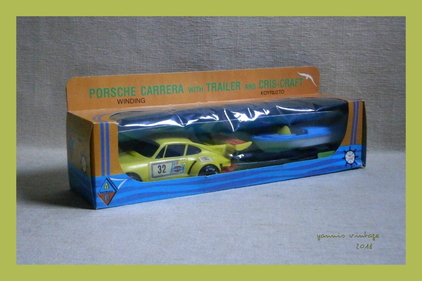 PORSCHE CARRERA & CHRIS-CRAFT   NIB Wind Up Greece Pappas Bros Yellow Greek
