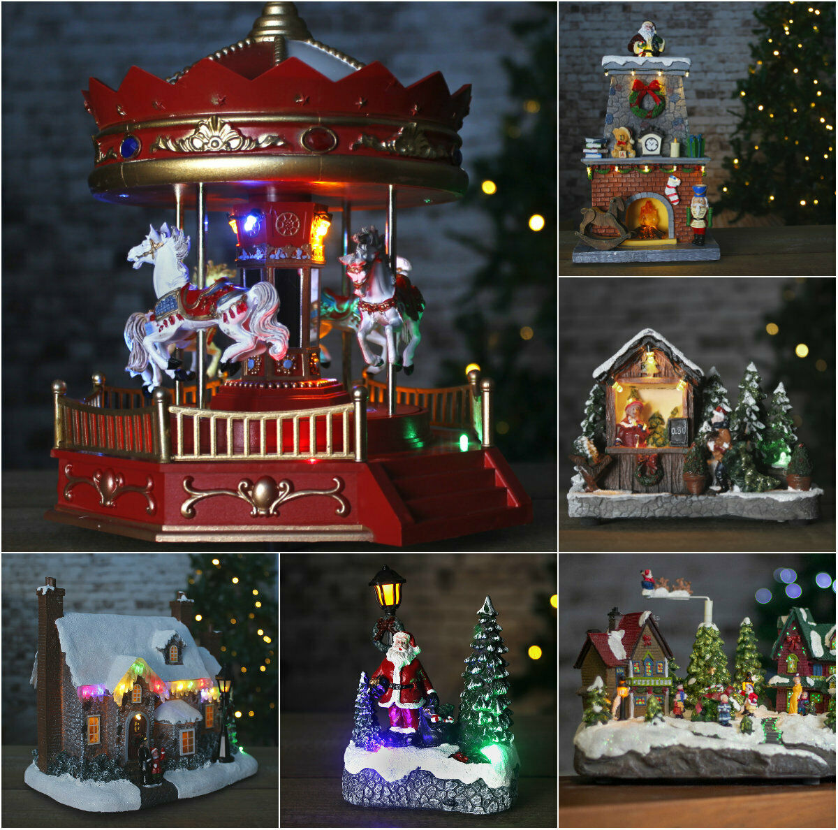 Christmas Musical Moving Led Mountain Village Snow Scene W Train Skaters Tree For Sale Ebay
