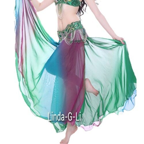 Professional 2 layers 2 side slits Gradient Color Belly Dance Skirt 1//1