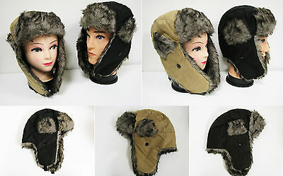 Winter Aviator Hat Trapper Earflap Trooper Faux Suedu Fur Bomber Snow Ski Cap #7
