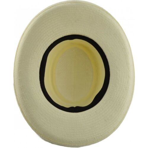 one size . White crushable Straw Gambler Fedora Panama Hat with Black Band