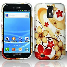 For T-Mobile Samsung Galaxy S II 2 T989 Rubber HARD Case Phone Cover Red Flowers