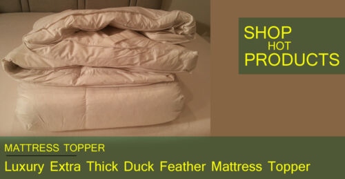 LUXURY  Topper Premium Quality Duck Feather Mattress Topper 3 inch Deep