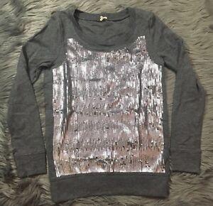 c21ac855d96 J Crew Gray Sequin Front Round Neck 100% Cotton Pullover Sweatshirt ...