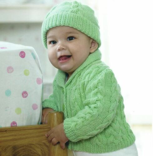 Knitting Pattern for Baby Boys Lovely DK Cable Jacket /& Hat Set 0-3 yrs ! 72