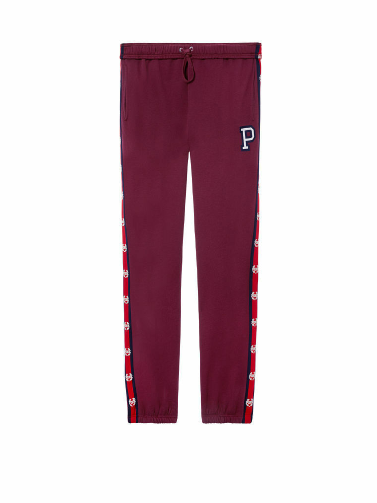 Victoria's Secret PINK Logo Campus Slouchy Pant Deep Ruby Large NWT (L Edition)