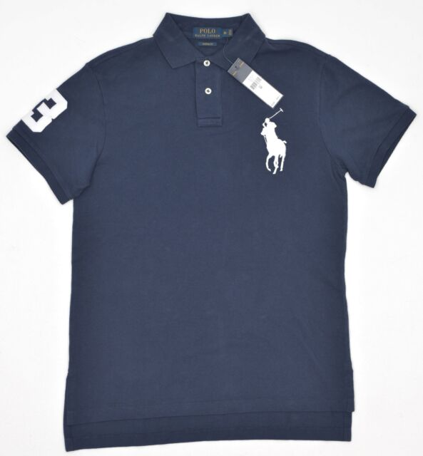71f6a936f ... sweden polo ralph lauren custom fit big pony mesh polo blue hi lo hem  new 6599