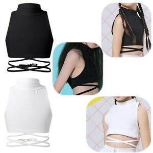 YUUMIN Kids Girls Sleeveless Mock Neck Strappy Crop Tops Vest Jazz Hip Hop Dancing Workout Clothes