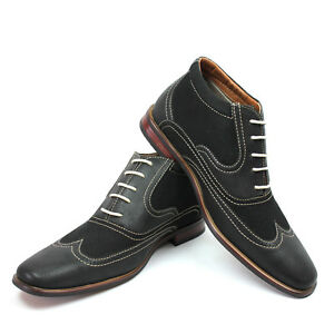 419ab2deeeb New Men s Black Ferro Aldo Ankle Boots Wing Tip Suede Leather Lace ...